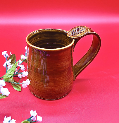 Light Brown Stoneware Mug with Thumb Rest - only 1 available