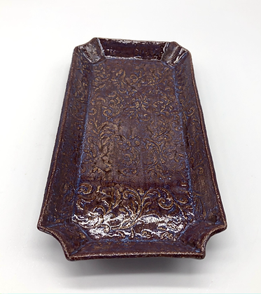 Deep Purple Embossed Serving Plate - only 1 available