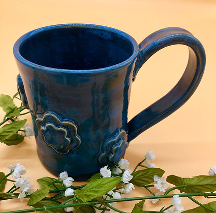 Deep Blue Stoneware Mug with Embellished Flowers - only 1 available