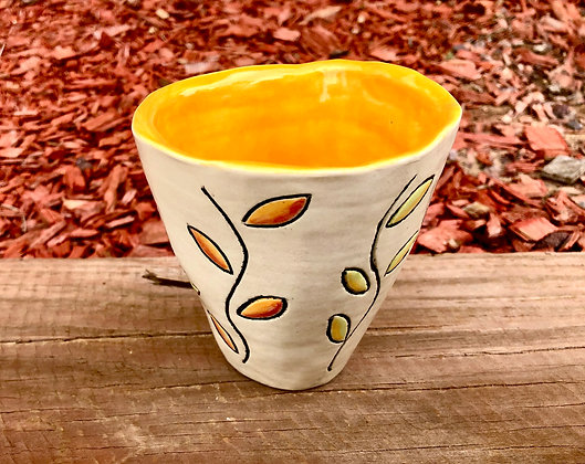 Bright Yellow Hand-Formed Tumbler with Leaves - only 1 available