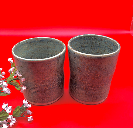 Pair of Sea Green Stoneware Tumblers - only 1 pair available