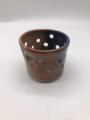 Blue and Tan Stoneware Luminary
