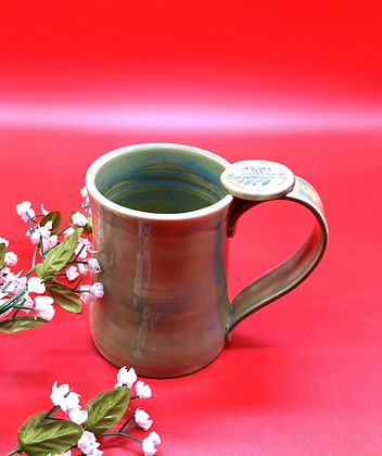 Light Green Stoneware Mug with Thumb Rest - only 1 available