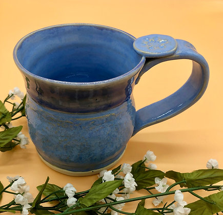 Light Blue Mug with Thumb Rest and Snowflake-Embossed Handle - only 1 available