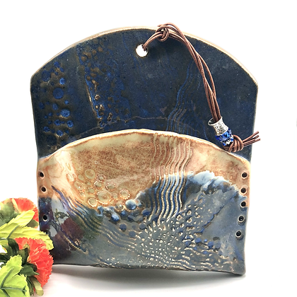 Tan and Blue Stoneware Wall Hanging - only one available
