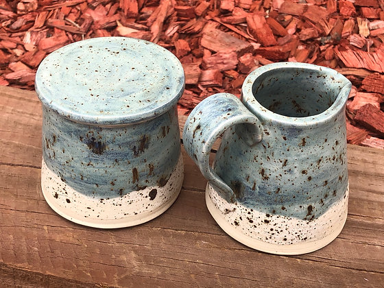 Blue and White Speckled Sugar and Creamer Set - only 1 set available