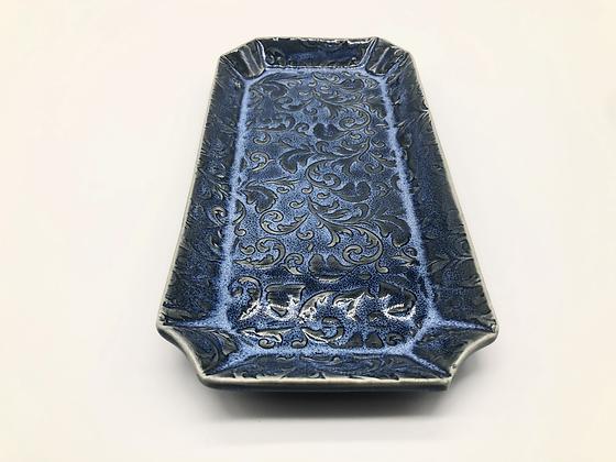 Blue Floral Embossed Serving Plate