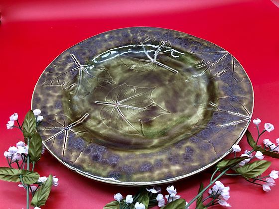 Beautiful Dark Green Platter with Embossed Leaves - Only one available