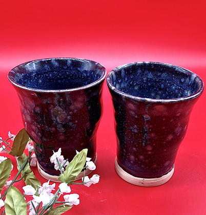 Pair of Black Stoneware Tumblers with Tan Bursts of Crystals - only 1 set availa