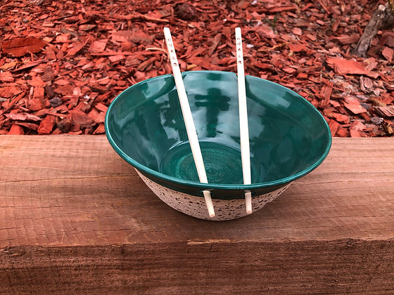 Green and White Speckled Rice/Noodle Bowl - only one available