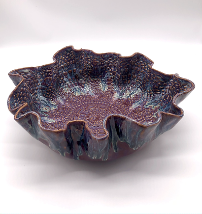 Purple Lace-Embossed Stoneware Wave Bowl - only 1 available