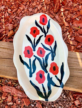 White Stoneware Platter with Red Poppies - only 1 available