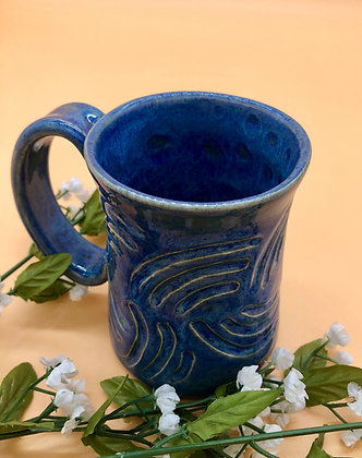 Blue Carved Stoneware Mug - only 1 available