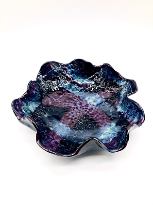 Black, Blue, and Purple Lace-Embossed Wave Bowl