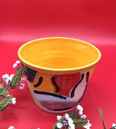 Modern Abstract Colorful Stoneware Bowl - only 1 available