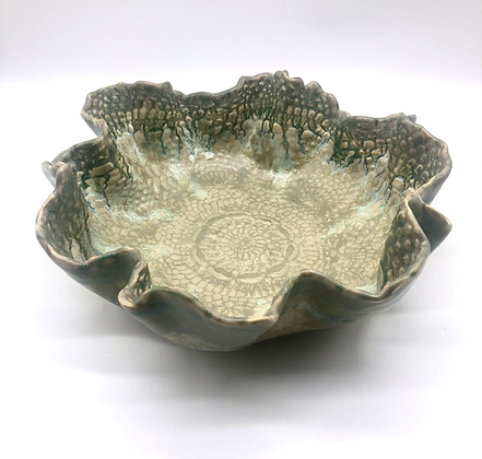 Green Lace-Embossed Stoneware Wave Bowl - only 1 available