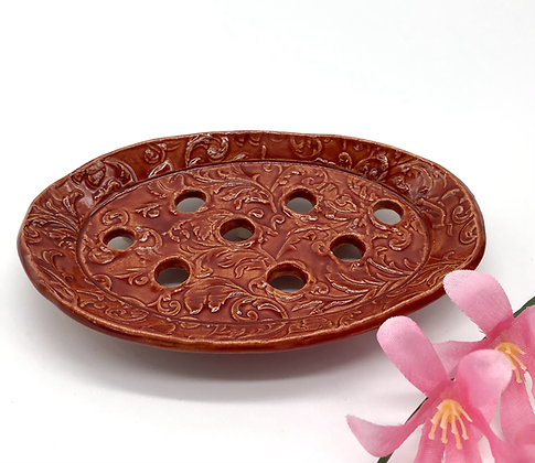 Red Porcelain Soap Dish - only 1 available