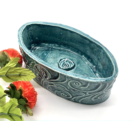 Turquoise Speckled Embossed Bowl - only 1 available
