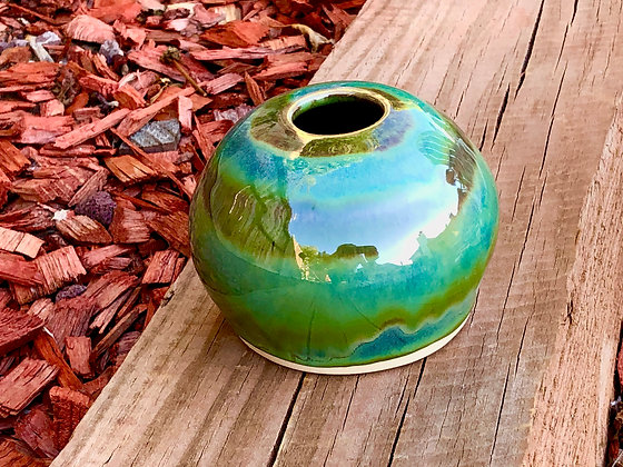 Green and Tan Swirl Stoneware Vase - only 1 available