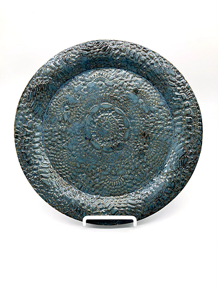 Large Sea Green Lace-Embossed Stoneware Plate