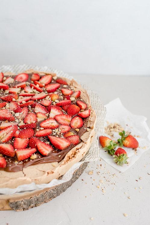 Suspiro de chocolate, nutella e morangos (ou framboesas)