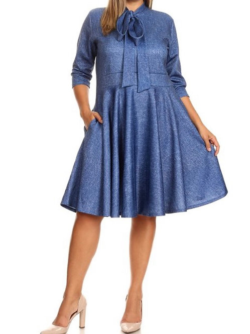 Erin Faux Denim Bow Dress