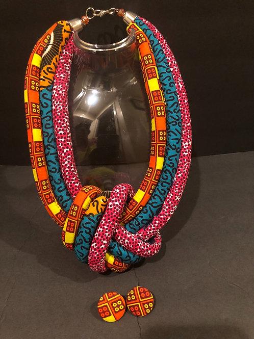 """Princess"" Ankara Necklace & Stud Earrings Set"