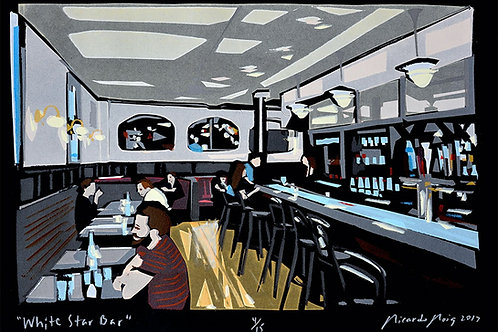"""White Star Bar"" by Ricardo Roig Limited Edition Hand Cut Paper Stencil Screen"