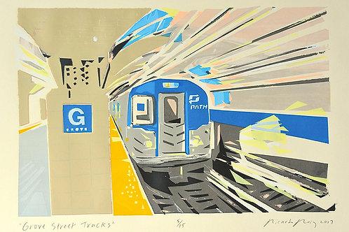 """Grove Street Tracks"" by Ricardo Roig Limited Edition Hand Cut Screen Prints"