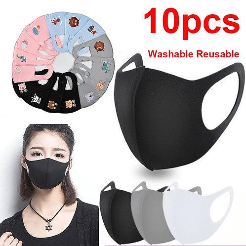 10pcs Black Mouth Mask Reusable Mask Washable Face Shield Masque Face Mask Cloth