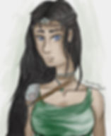 A watercolor-style image of a girl with dark skin, straight black hair, and blue eyes wearing a green tank top, silver and bronze shoulder armor, and a circlet made of silver and leather.