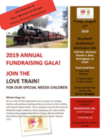 2019 Mission Hugs Fundraiser Gala Flyer.