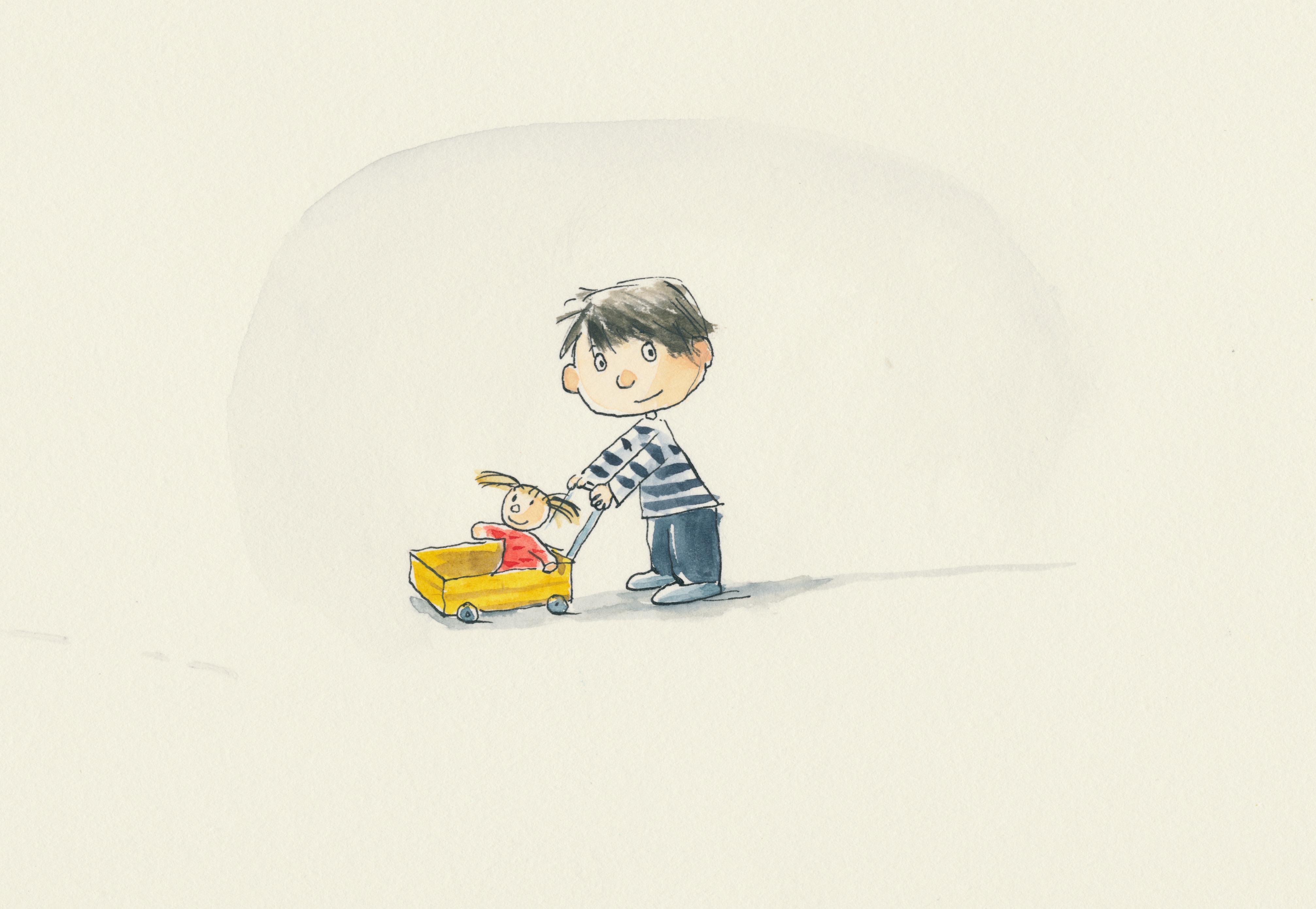 Petit garçon au chariot