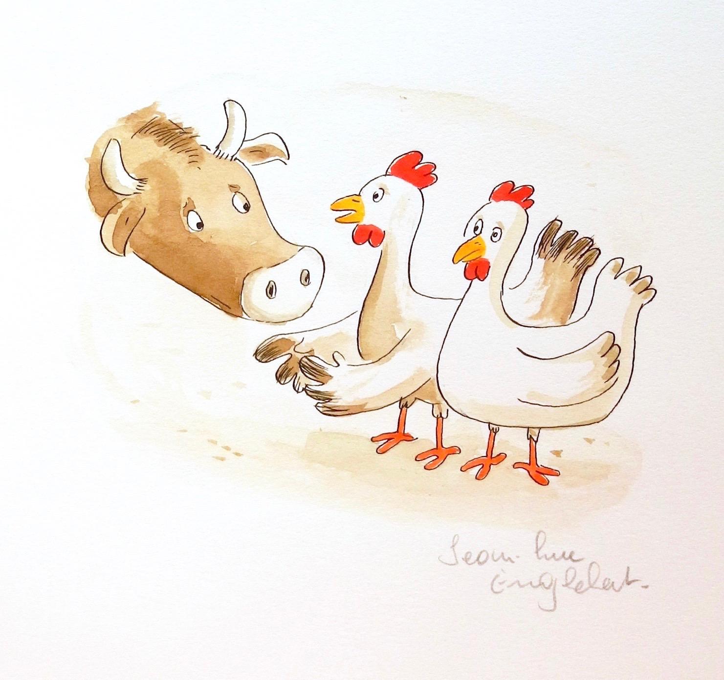 Le Boeuf et les poules
