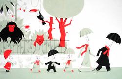 L'homme-parapluie au zoo