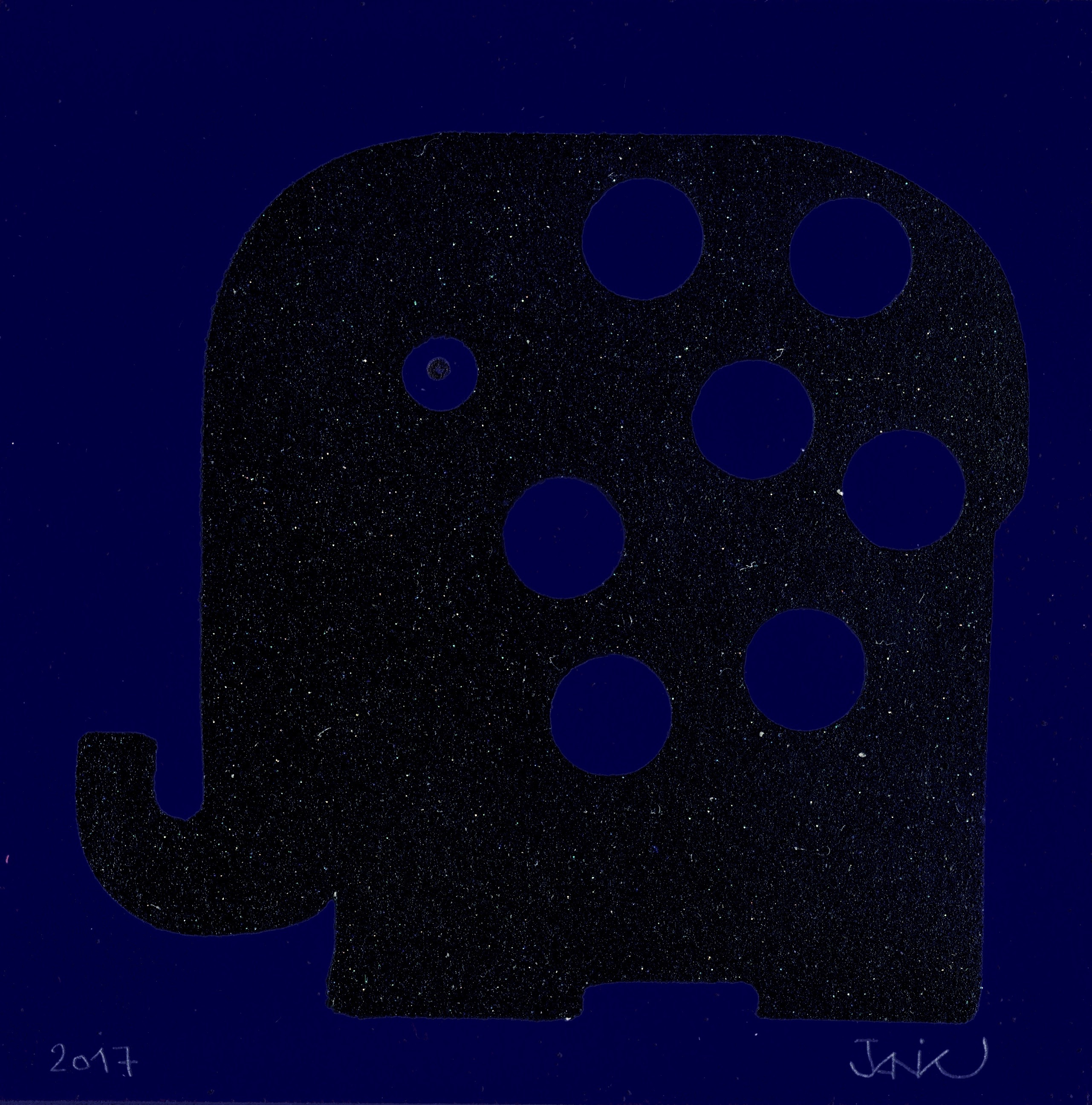 Aleph bleu noir à pois