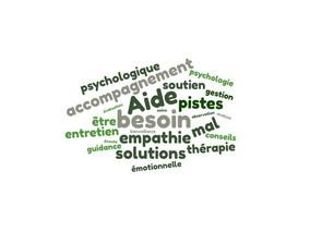 Nuage de mots clés : prise en charge psychologique.