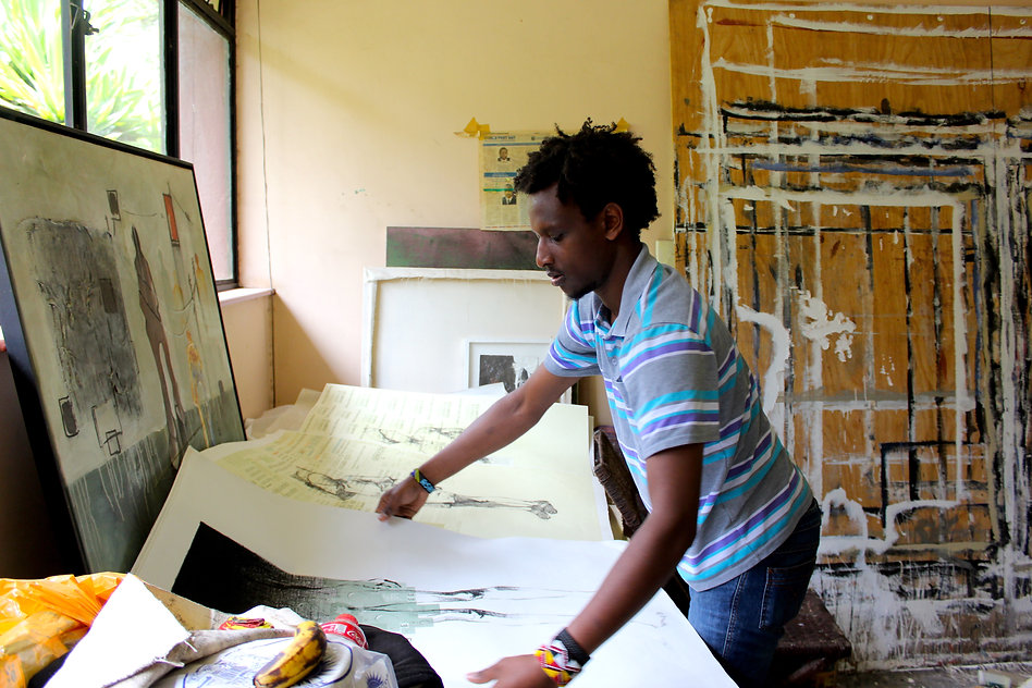 Lemek Tompoika in his studio in Nairobi, Kenya