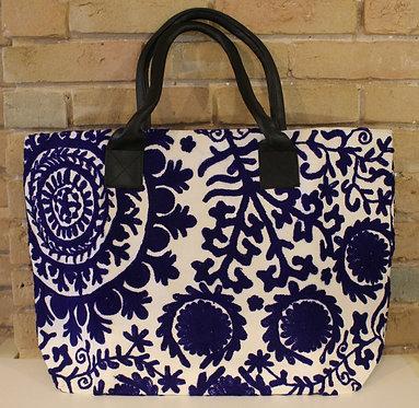 Blue and White Indian Sujhani Tote Bag
