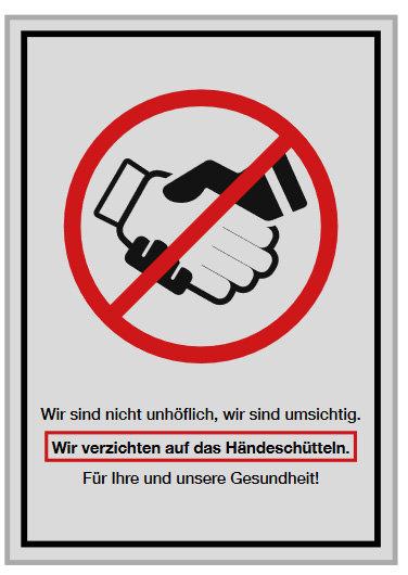 Plakat WARNHINWEISE HÄNDESCHÜTTELN | Papier 135g | Hochformat