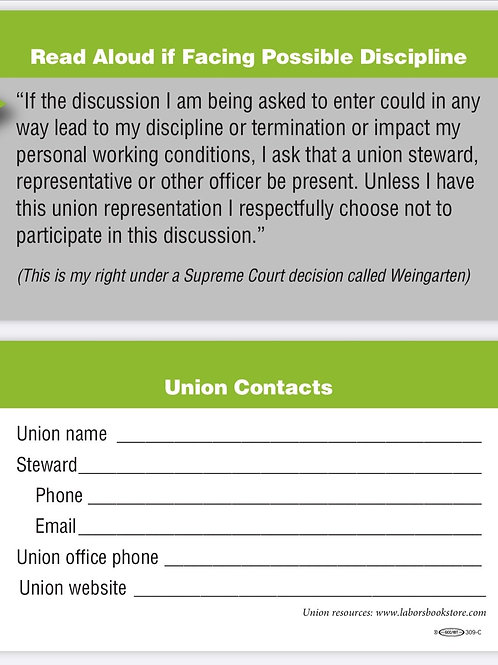 Union Steward Business Cards