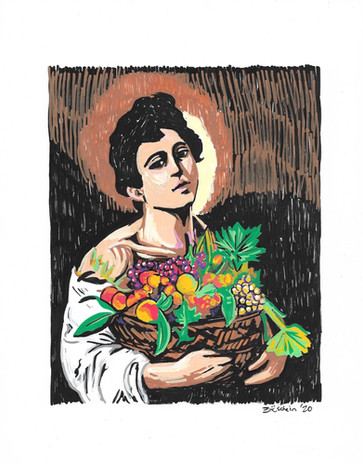 Boy With Basket of Fruit