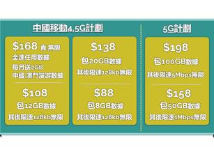 『中國移動5G』⚡️本地5G計劃+中國5G漫遊數據