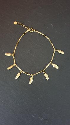 Fussketten mit Federli Silber 925 vergoldet