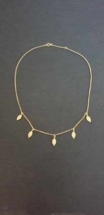 Kette 5er  Foglietta Silber925 vergoldet