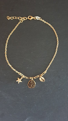 Fussketten Meeresbrise Silber 925 vergoldet