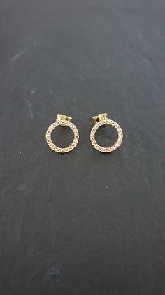 Ohrstecker Kreis mit Zirkonen Silber925 vergoldet
