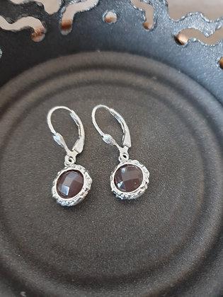 Ohrringe Bianca S925 mattiert mit orangem Mondstein