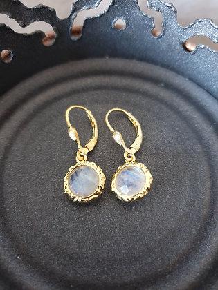 Ohrringe Bianca S925 vergoldet mattiert mit Regenbogen Mondstein