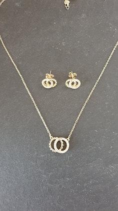 DoppelRinge Ohrstecker Silber925 hell vergoldet